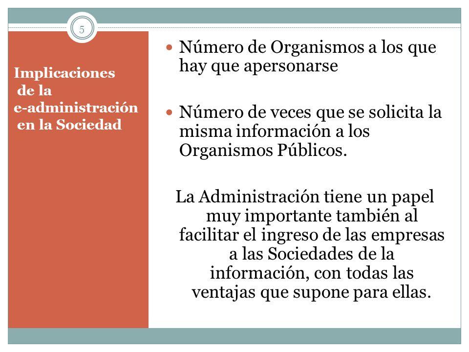 Implicaciones de la e-administración en la Sociedad Número de Organismos a los que hay que apersonarse Número de veces que se solicita la misma inform
