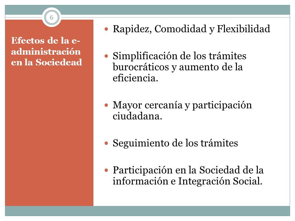 Efectos de la e- administración en la Sociedead Rapidez, Comodidad y Flexibilidad Simplificación de los trámites burocráticos y aumento de la eficienc