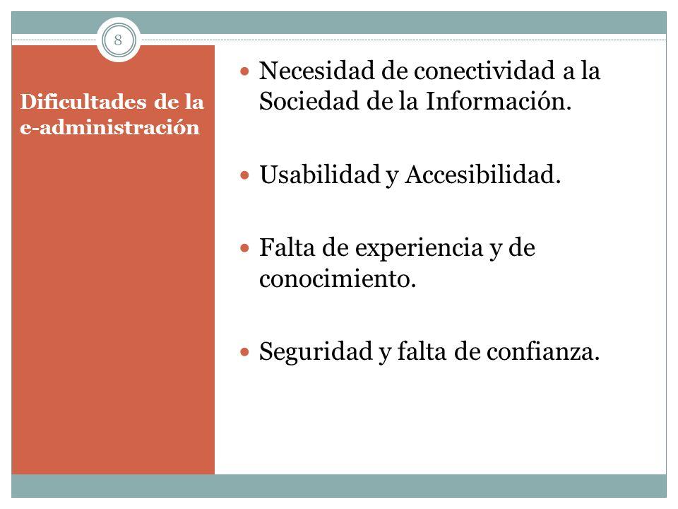 Dificultades de la e-administración Necesidad de conectividad a la Sociedad de la Información. Usabilidad y Accesibilidad. Falta de experiencia y de c