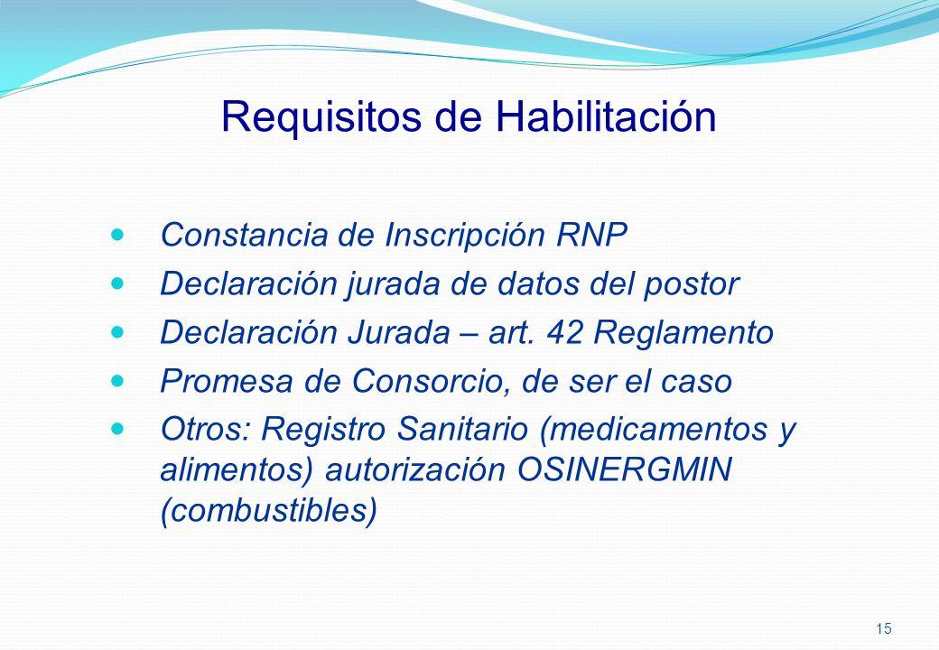 Requisitos de Habilitación Constancia de Inscripción RNP Declaración jurada de datos del postor Declaración Jurada – art. 42 Reglamento Promesa de Con