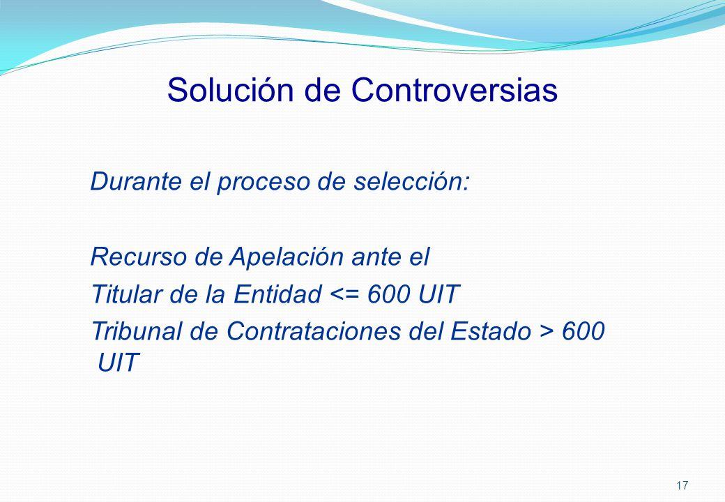 Solución de Controversias Durante el proceso de selección: Recurso de Apelación ante el Titular de la Entidad <= 600 UIT Tribunal de Contrataciones de