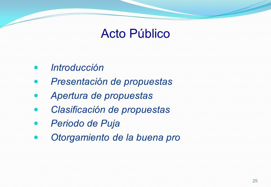 Acto Público Introducción Presentación de propuestas Apertura de propuestas Clasificación de propuestas Periodo de Puja Otorgamiento de la buena pro 2