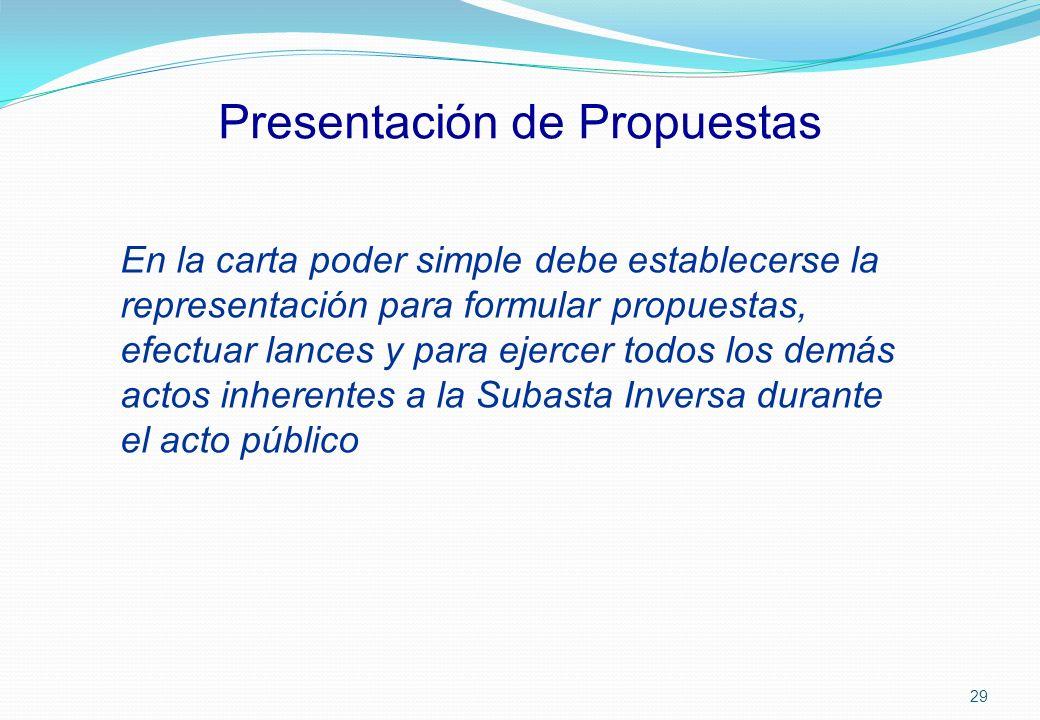 Presentación de Propuestas En la carta poder simple debe establecerse la representación para formular propuestas, efectuar lances y para ejercer todos