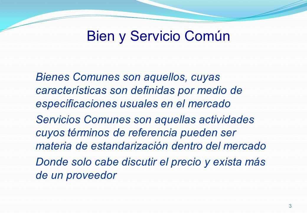 Bien y Servicio Común Bienes Comunes son aquellos, cuyas características son definidas por medio de especificaciones usuales en el mercado Servicios C