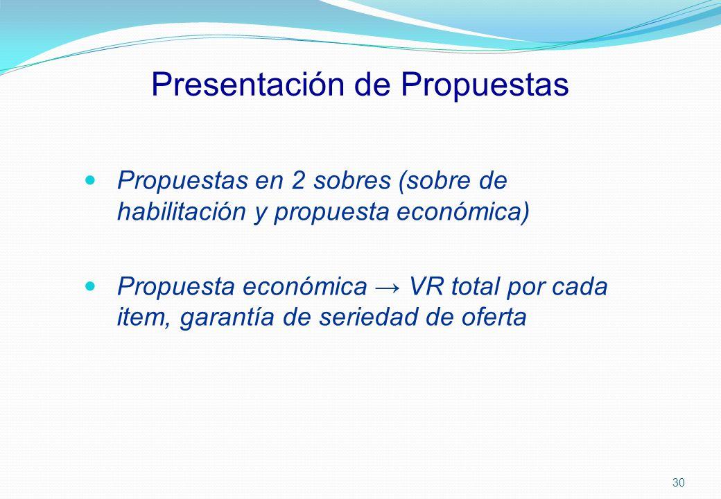 Presentación de Propuestas Propuestas en 2 sobres (sobre de habilitación y propuesta económica) Propuesta económica VR total por cada item, garantía d
