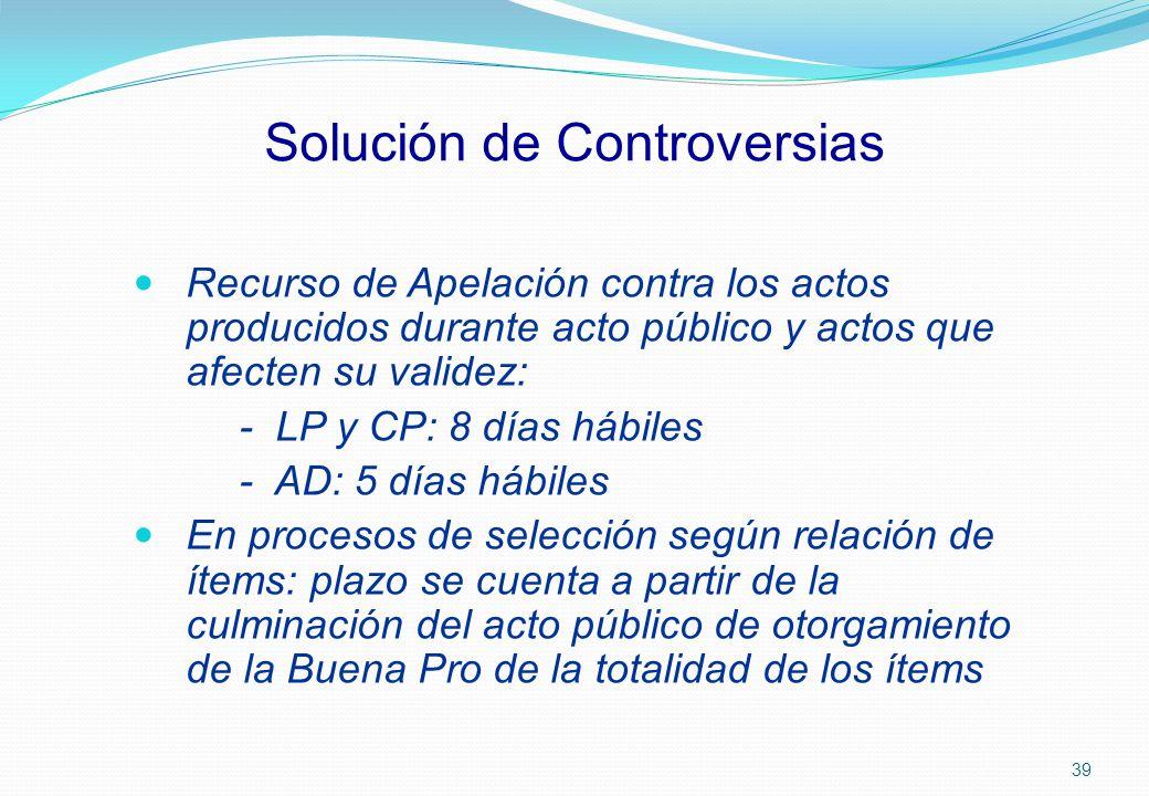 Solución de Controversias Recurso de Apelación contra los actos producidos durante acto público y actos que afecten su validez: - LP y CP: 8 días hábi