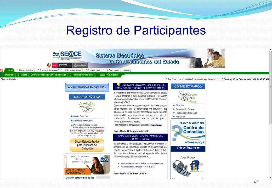 Registro de Participantes 47