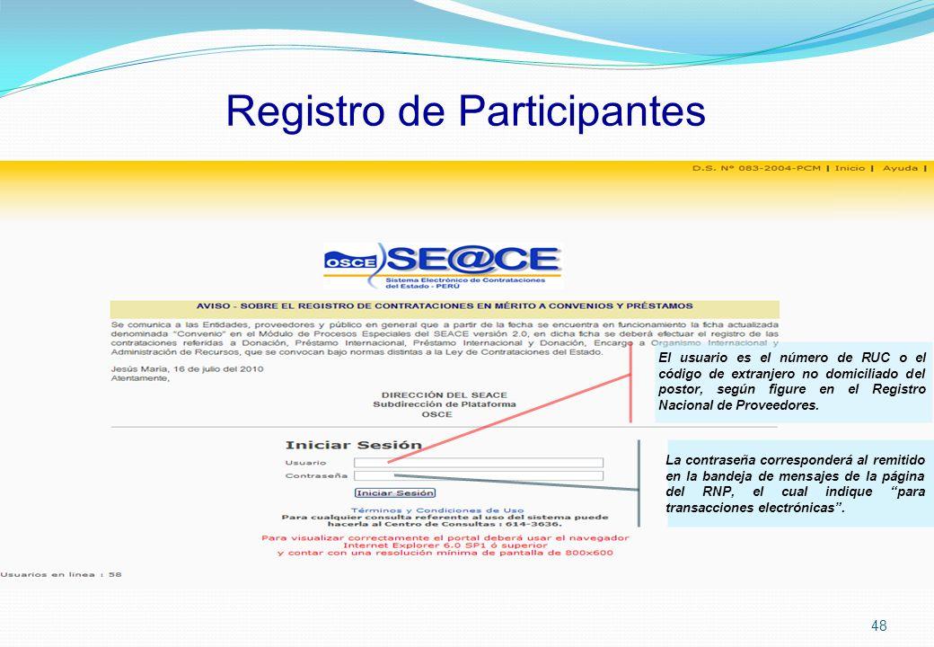 Registro de Participantes El usuario es el número de RUC o el código de extranjero no domiciliado del postor, según figure en el Registro Nacional de