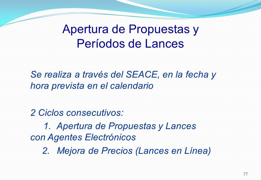 Apertura de Propuestas y Períodos de Lances Se realiza a través del SEACE, en la fecha y hora prevista en el calendario 2 Ciclos consecutivos: 1. Aper