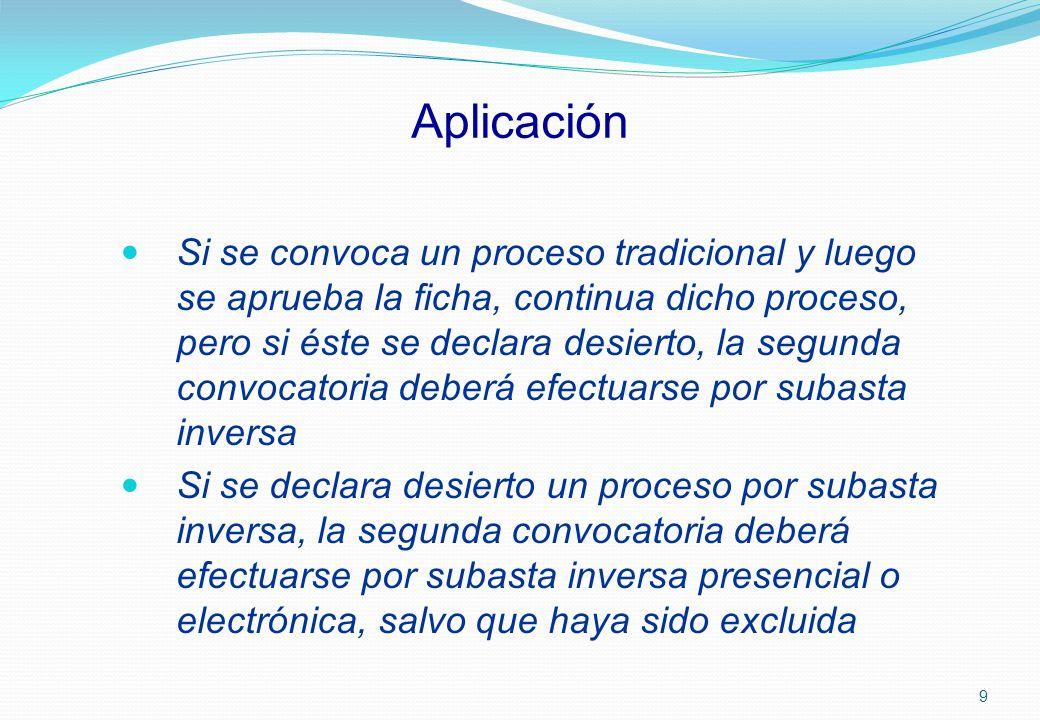 Aplicación Si se convoca un proceso tradicional y luego se aprueba la ficha, continua dicho proceso, pero si éste se declara desierto, la segunda conv
