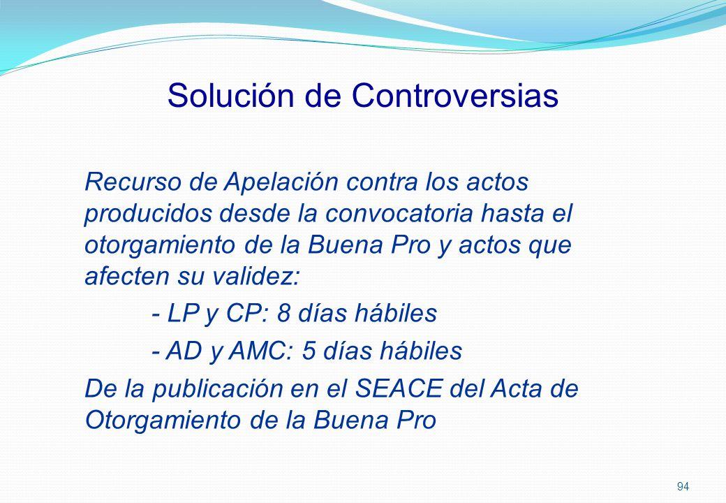 Solución de Controversias Recurso de Apelación contra los actos producidos desde la convocatoria hasta el otorgamiento de la Buena Pro y actos que afe