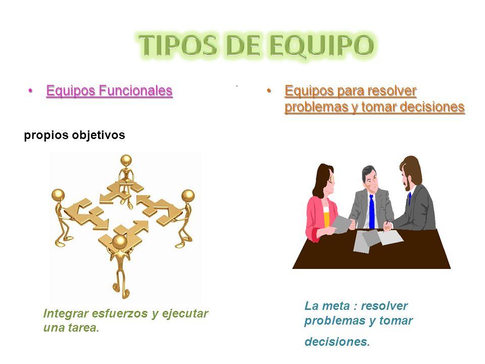 · Equipos para resolver problemas y tomar decisionesEquipos para resolver problemas y tomar decisiones Equipos FuncionalesEquipos Funcionales La meta