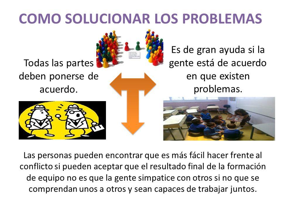 COMO SOLUCIONAR LOS PROBLEMAS Todas las partes deben ponerse de acuerdo. Es de gran ayuda si la gente está de acuerdo en que existen problemas. Las pe