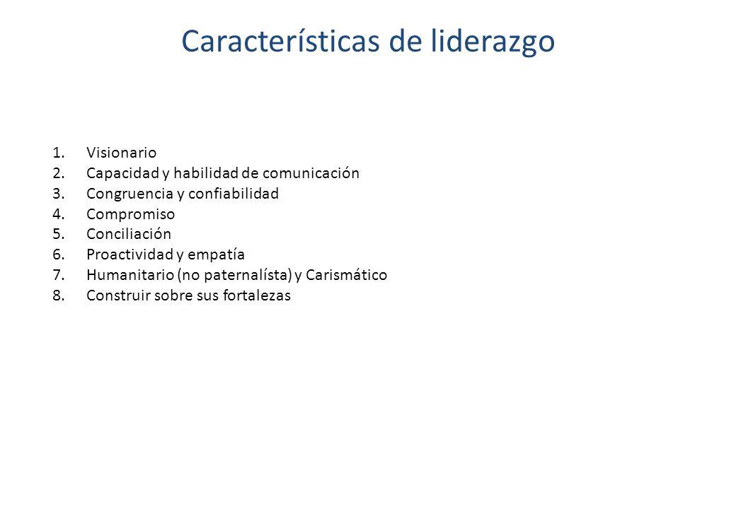 Características de liderazgo 1.Visionario 2.Capacidad y habilidad de comunicación 3.Congruencia y confiabilidad 4.Compromiso 5.Conciliación 6.Proactiv