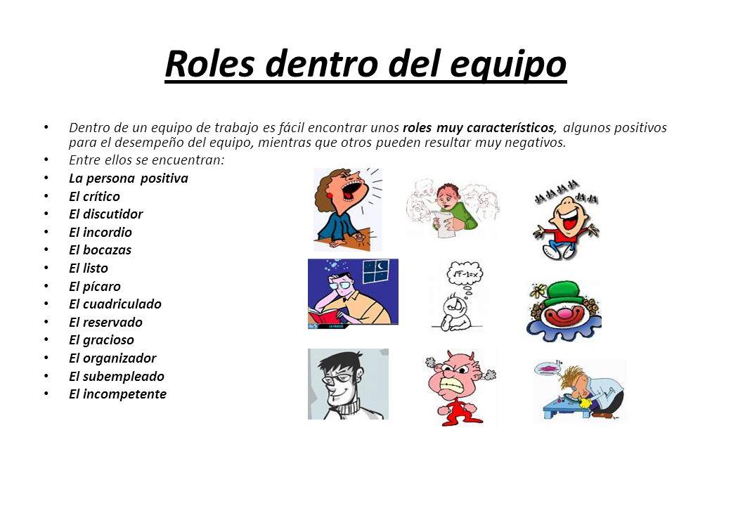Roles dentro del equipo Dentro de un equipo de trabajo es fácil encontrar unos roles muy característicos, algunos positivos para el desempeño del equi