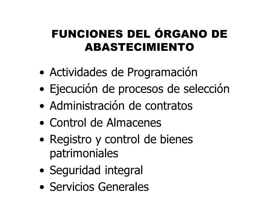 FUNCIONES DEL ÓRGANO DE ABASTECIMIENTO Actividades de Programación Ejecución de procesos de selección Administración de contratos Control de Almacenes