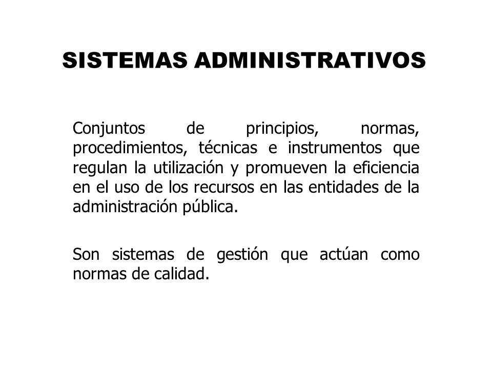 SISTEMAS ADMINISTRATIVOS Conjuntos de principios, normas, procedimientos, técnicas e instrumentos que regulan la utilización y promueven la eficiencia