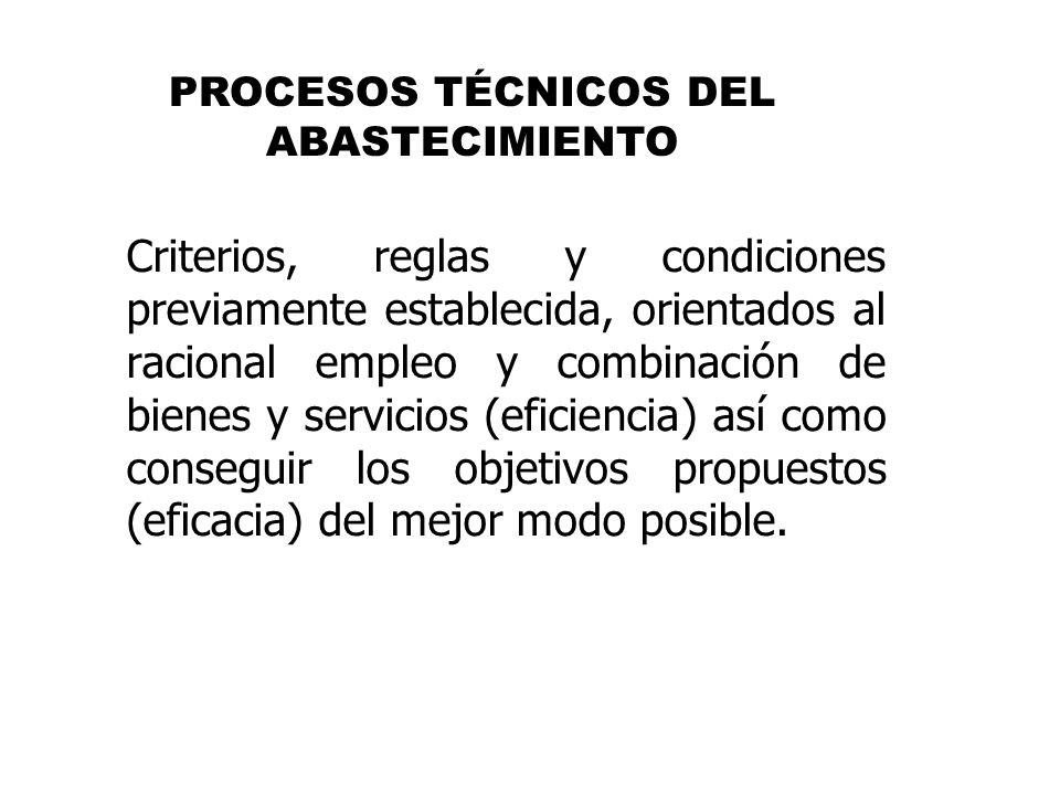 Criterios, reglas y condiciones previamente establecida, orientados al racional empleo y combinación de bienes y servicios (eficiencia) así como conse
