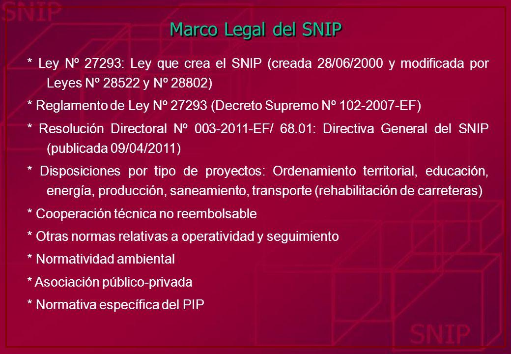 Marco Legal del SNIP * Ley Nº 27293: Ley que crea el SNIP (creada 28/06/2000 y modificada por Leyes Nº 28522 y Nº 28802) * Reglamento de Ley Nº 27293