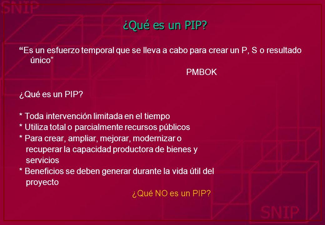 ¿Qué es un PIP? Es un esfuerzo temporal que se lleva a cabo para crear un P, S o resultado único PMBOK ¿Qué es un PIP? * Toda intervención limitada en
