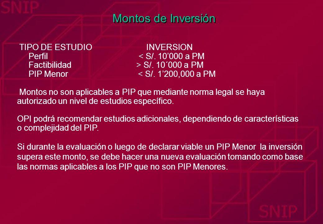Montos de Inversión TIPO DE ESTUDIO INVERSION Perfil < S/. 10000 a PM Factibilidad > S/. 10´000 a PM PIP Menor < S/. 1200,000 a PM Montos no son aplic