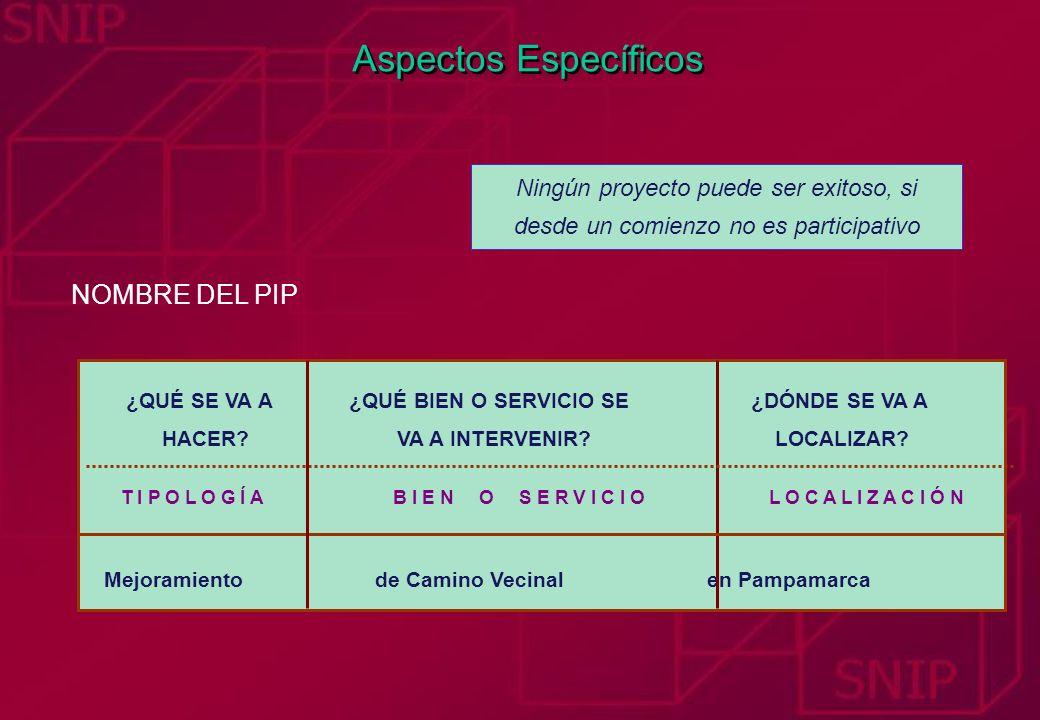 Aspectos Específicos NOMBRE DEL PIP Mejoramiento de Camino Vecinal en Pampamarca T I P O L O G Í A ¿QUÉ SE VA A HACER? B I E N O S E R V I C I O ¿QUÉ