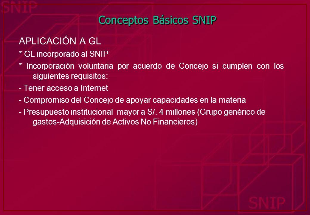 Conceptos Básicos SNIP APLICACIÓN A GL * GL incorporado al SNIP * Incorporación voluntaria por acuerdo de Concejo si cumplen con los siguientes requis