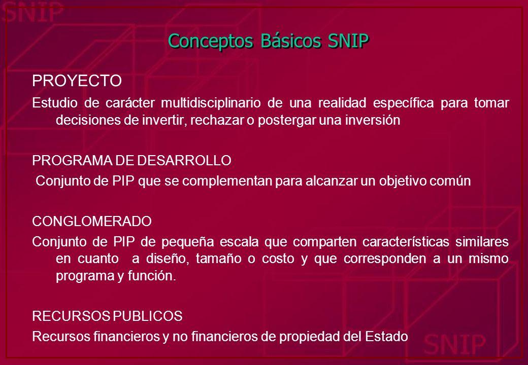Conceptos Básicos SNIP PROYECTO Estudio de carácter multidisciplinario de una realidad específica para tomar decisiones de invertir, rechazar o poster
