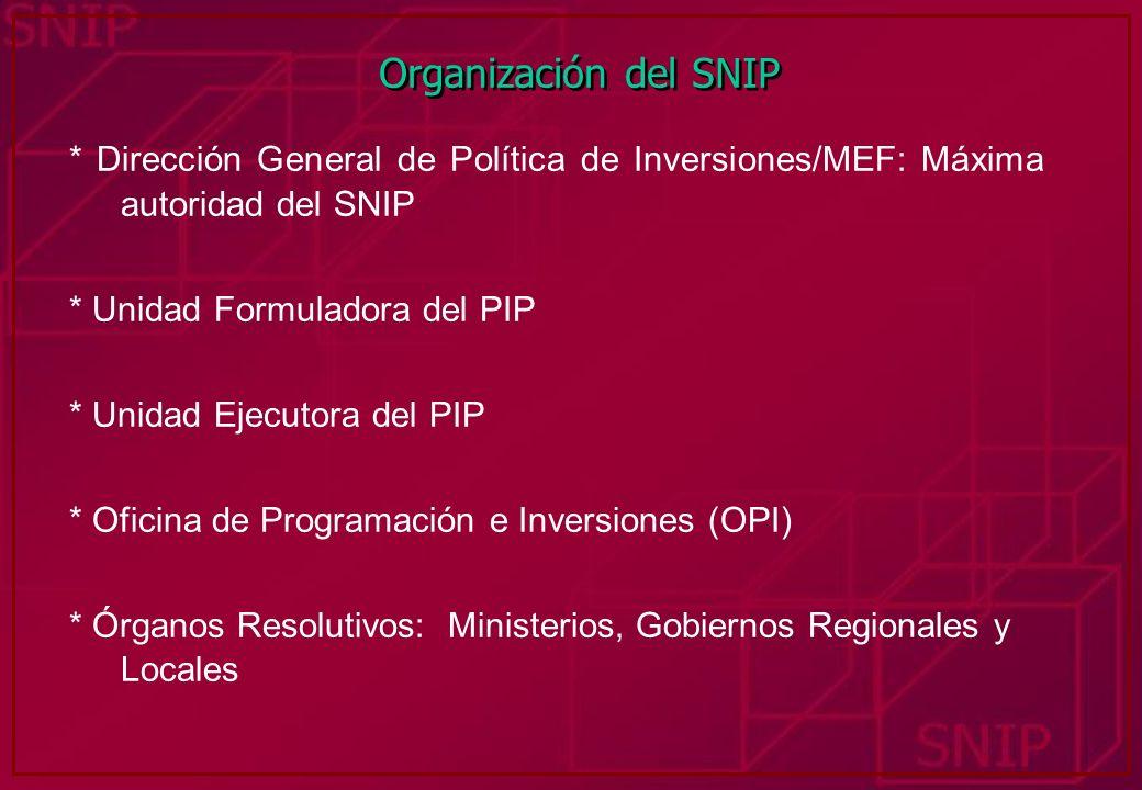 Organización del SNIP * Dirección General de Política de Inversiones/MEF: Máxima autoridad del SNIP * Unidad Formuladora del PIP * Unidad Ejecutora de
