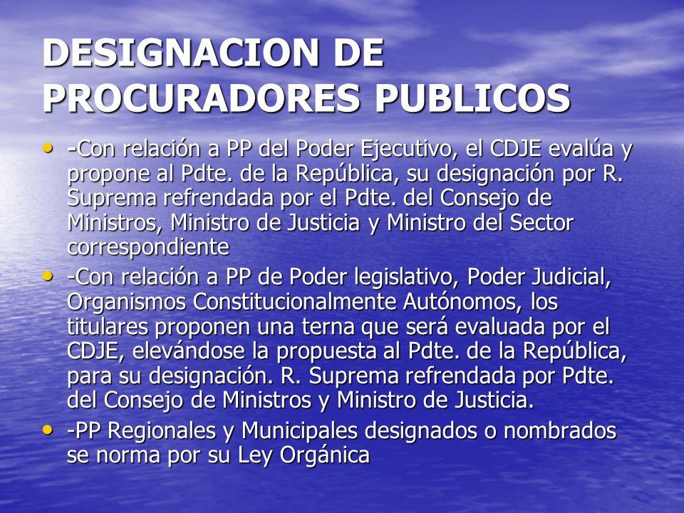 DESIGNACION DE PROCURADORES PUBLICOS -Con relación a PP del Poder Ejecutivo, el CDJE evalúa y propone al Pdte. de la República, su designación por R.