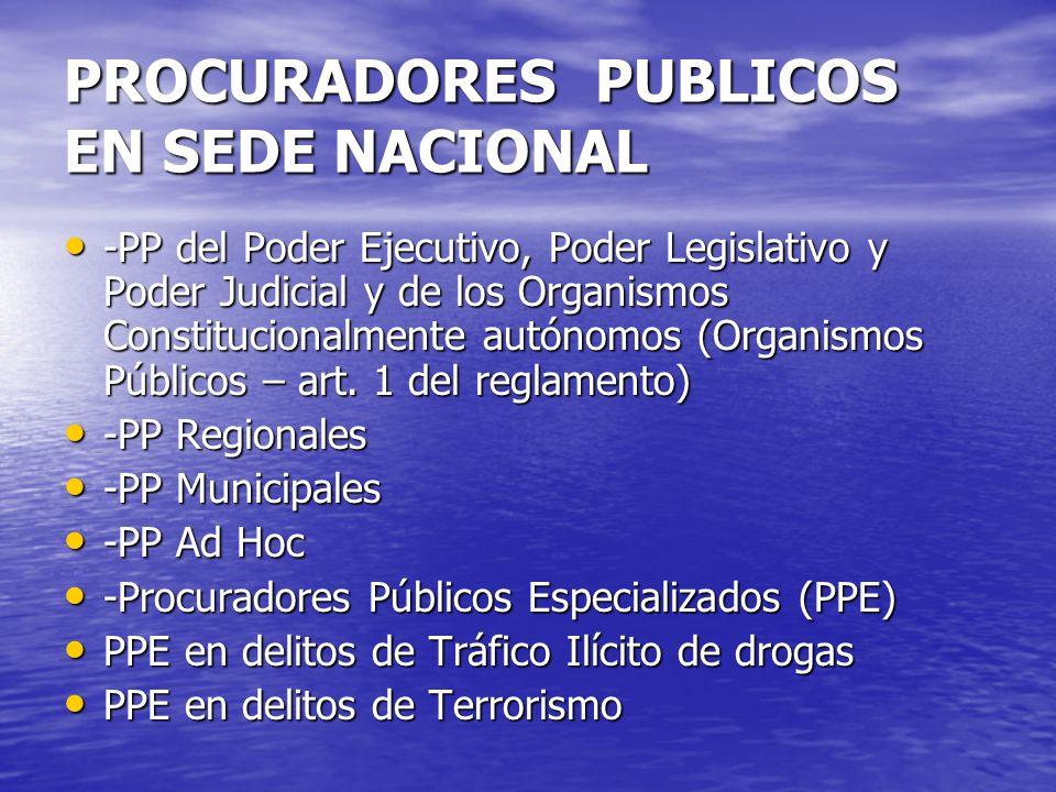 PROCURADORES PUBLICOS EN SEDE NACIONAL -PP del Poder Ejecutivo, Poder Legislativo y Poder Judicial y de los Organismos Constitucionalmente autónomos (