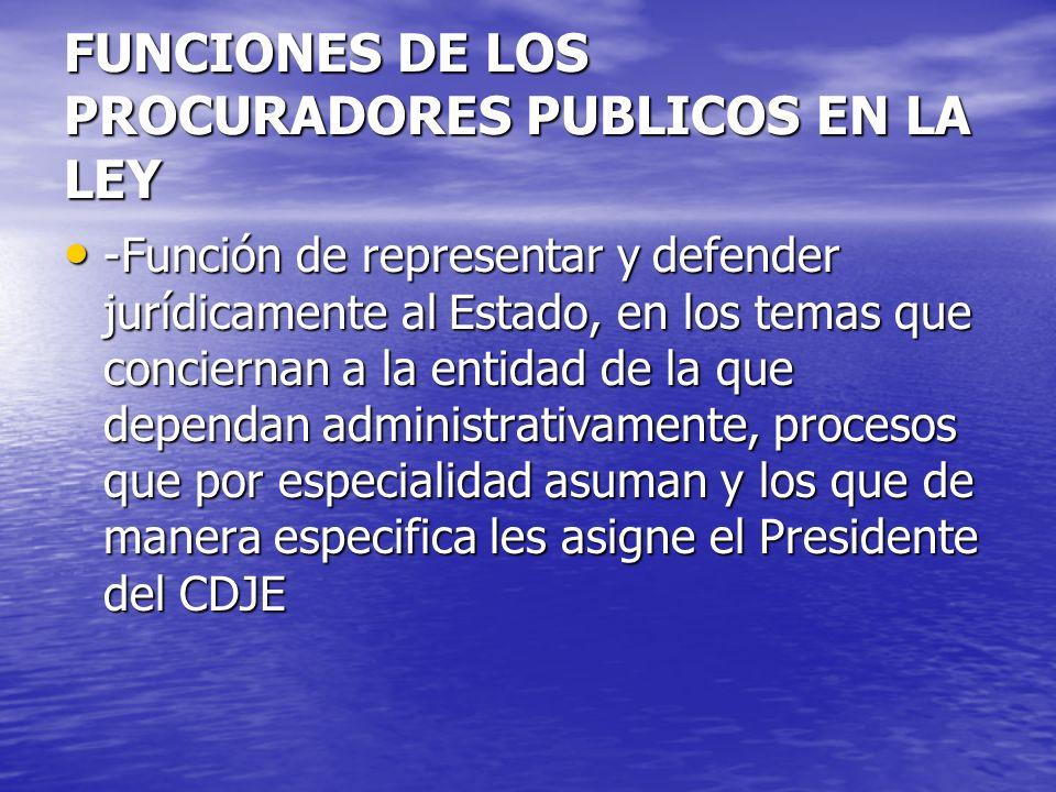 FUNCIONES DE LOS PROCURADORES PUBLICOS EN LA LEY -Función de representar y defender jurídicamente al Estado, en los temas que conciernan a la entidad