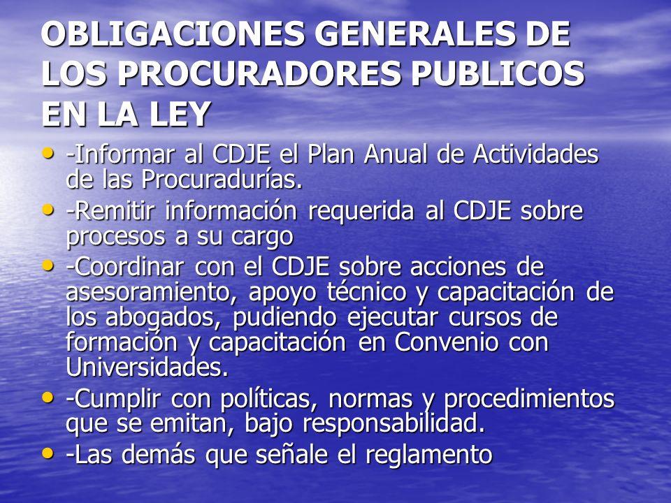 OBLIGACIONES GENERALES DE LOS PROCURADORES PUBLICOS EN LA LEY -Informar al CDJE el Plan Anual de Actividades de las Procuradurías. -Informar al CDJE e