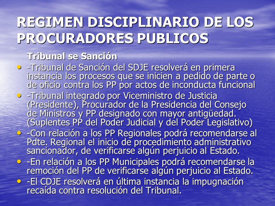 REGIMEN DISCIPLINARIO DE LOS PROCURADORES PUBLICOS Tribunal se Sanción Tribunal se Sanción -Tribunal de Sanción del SDJE resolverá en primera instanci