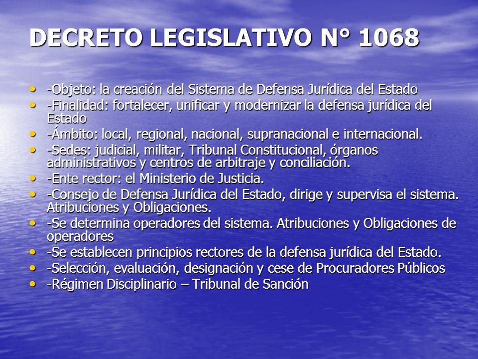 DECRETO LEGISLATIVO N° 1068 -Objeto: la creación del Sistema de Defensa Jurídica del Estado -Objeto: la creación del Sistema de Defensa Jurídica del E