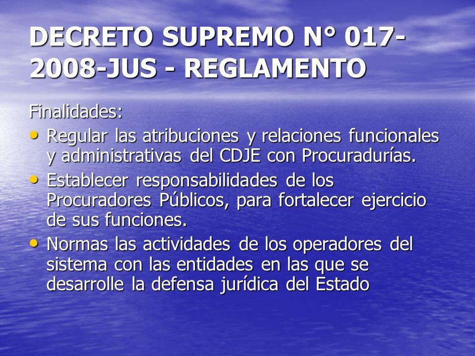 DECRETO SUPREMO N° 017- 2008-JUS - REGLAMENTO Finalidades: Regular las atribuciones y relaciones funcionales y administrativas del CDJE con Procuradur