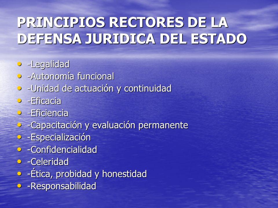 PRINCIPIOS RECTORES DE LA DEFENSA JURIDICA DEL ESTADO -Legalidad -Legalidad -Autonomía funcional -Autonomía funcional -Unidad de actuación y continuid
