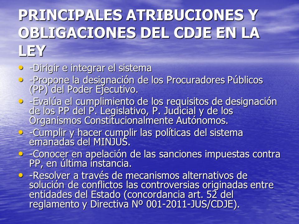 PRINCIPALES ATRIBUCIONES Y OBLIGACIONES DEL CDJE EN LA LEY -Dirigir e integrar el sistema -Dirigir e integrar el sistema -Propone la designación de lo