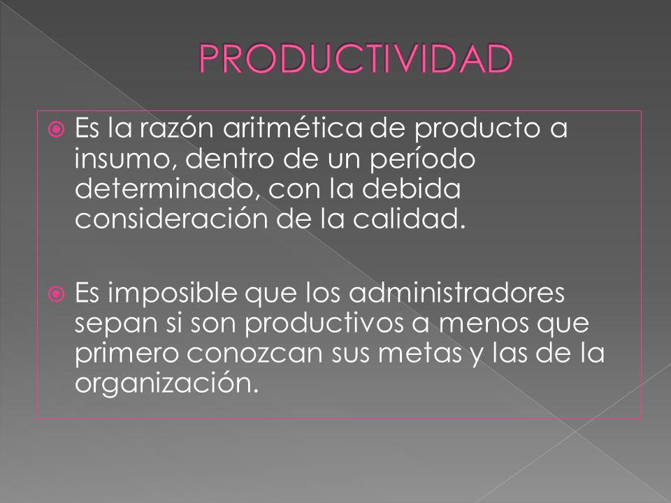 Es la razón aritmética de producto a insumo, dentro de un período determinado, con la debida consideración de la calidad. Es imposible que los adminis