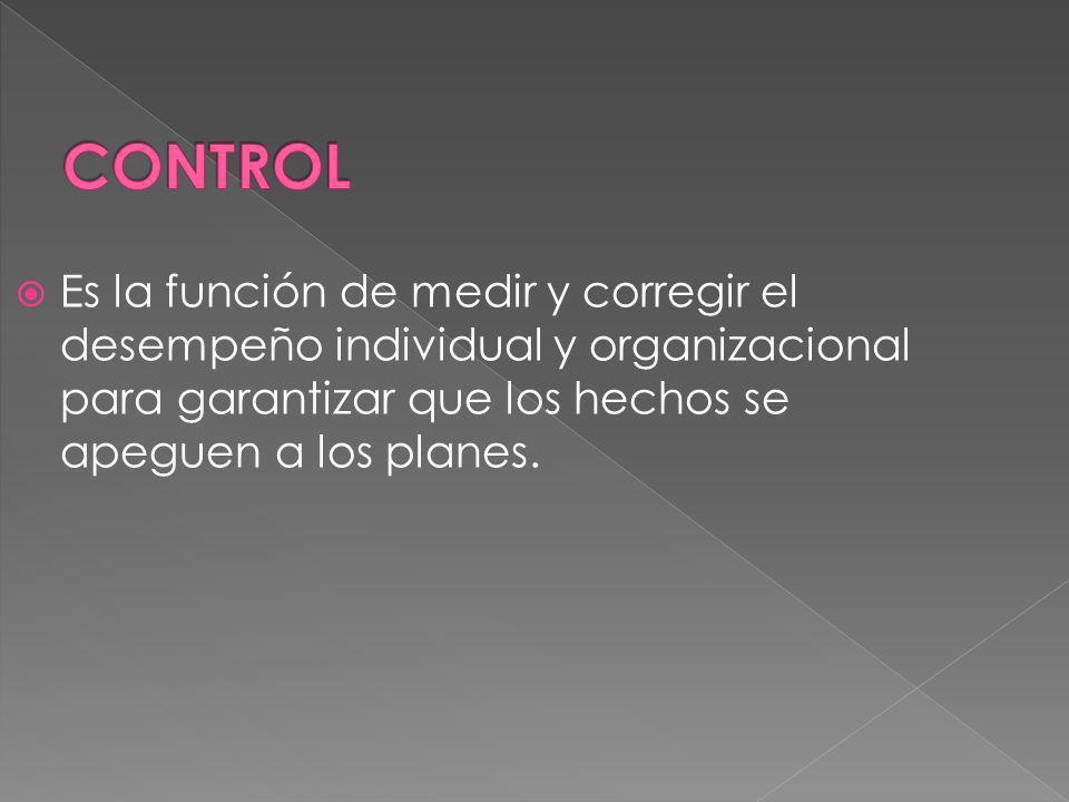 Es la función de medir y corregir el desempeño individual y organizacional para garantizar que los hechos se apeguen a los planes.