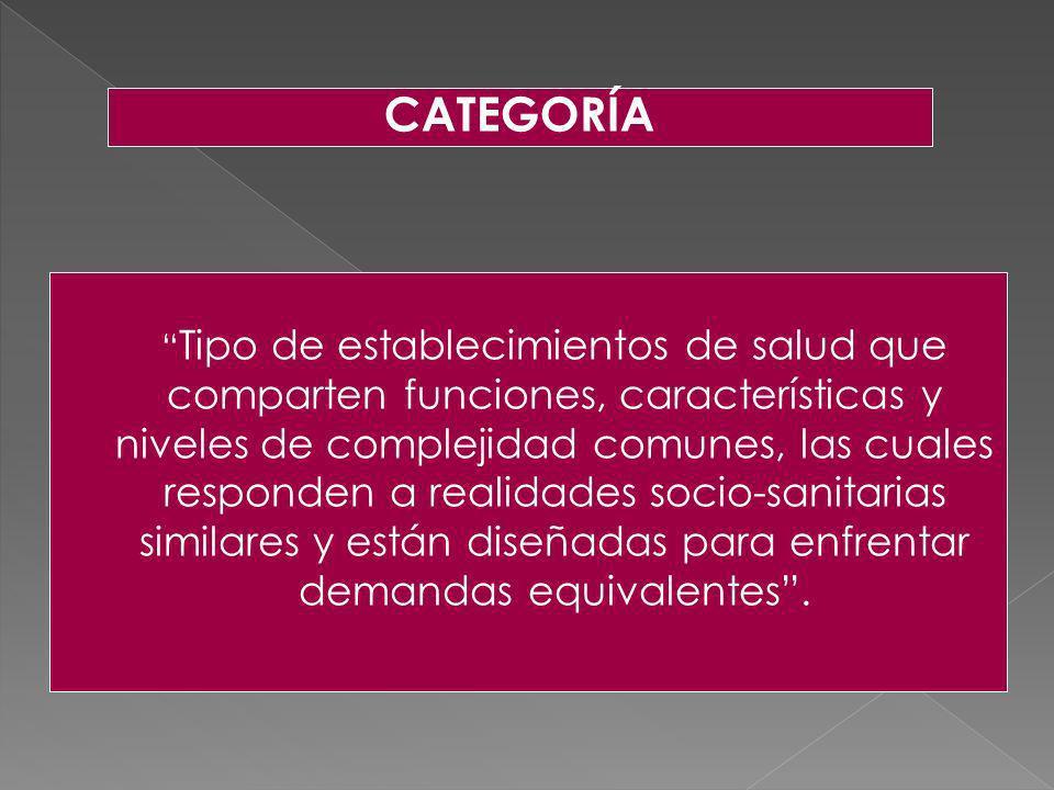 Tipo de establecimientos de salud que comparten funciones, características y niveles de complejidad comunes, las cuales responden a realidades socio-s