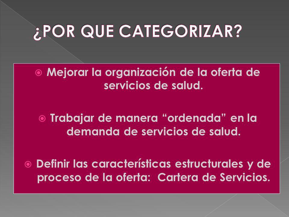 Mejorar la organización de la oferta de servicios de salud. Trabajar de manera ordenada en la demanda de servicios de salud. Definir las característic