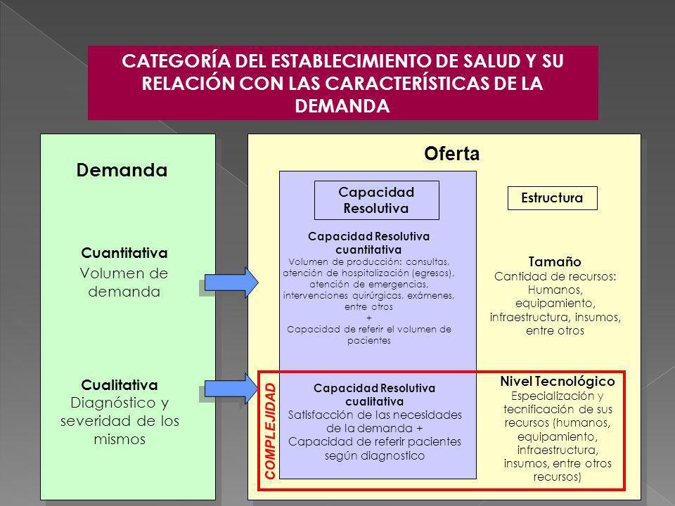 Demanda Cuantitativa Volumen de demanda Cualitativa Diagnóstico y severidad de los mismos Capacidad Resolutiva cuantitativa Volumen de producción: con