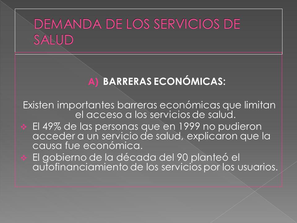 A) BARRERAS ECONÓMICAS: Existen importantes barreras económicas que limitan el acceso a los servicios de salud. El 49% de las personas que en 1999 no