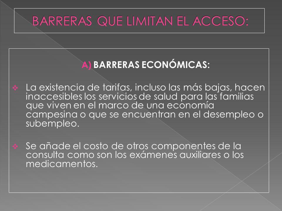 A) BARRERAS ECONÓMICAS: La existencia de tarifas, incluso las más bajas, hacen inaccesibles los servicios de salud para las familias que viven en el m