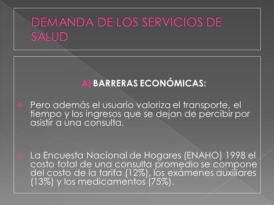 A) BARRERAS ECONÓMICAS: Pero además el usuario valoriza el transporte, el tiempo y los ingresos que se dejan de percibir por asistir a una consulta. L