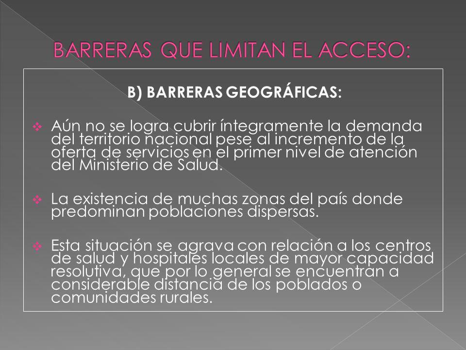B) BARRERAS GEOGRÁFICAS: Aún no se logra cubrir íntegramente la demanda del territorio nacional pese al incremento de la oferta de servicios en el pri
