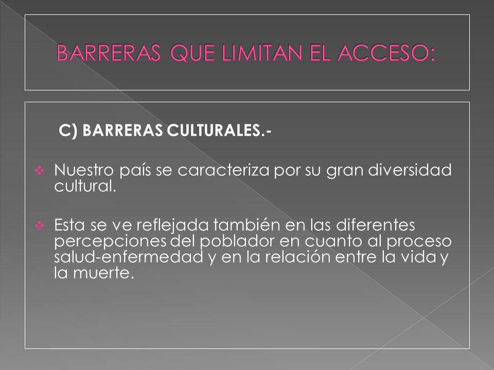 C) BARRERAS CULTURALES.- Nuestro país se caracteriza por su gran diversidad cultural. Esta se ve reflejada también en las diferentes percepciones del