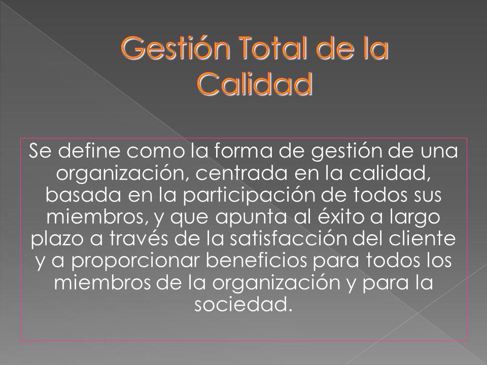 Se define como la forma de gestión de una organización, centrada en la calidad, basada en la participación de todos sus miembros, y que apunta al éxit
