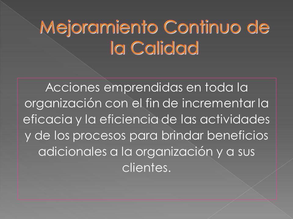 Acciones emprendidas en toda la organización con el fin de incrementar la eficacia y la eficiencia de las actividades y de los procesos para brindar b